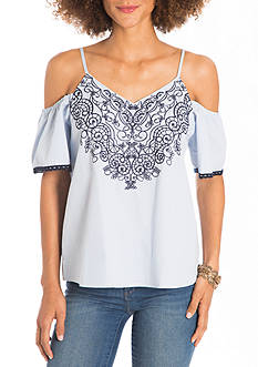 Eyeshadow Cold Shoulder Embroidered Shirting