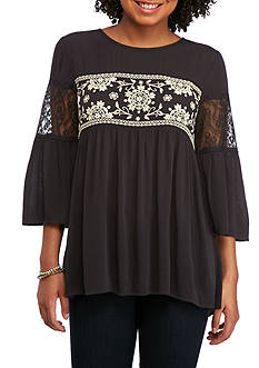 Eyeshadow Embroidered Peasant Top