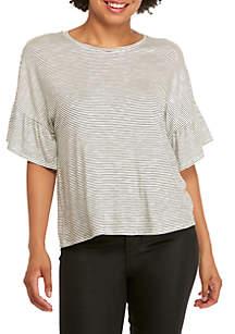 Striped Ruffle Short Sleeve Tee