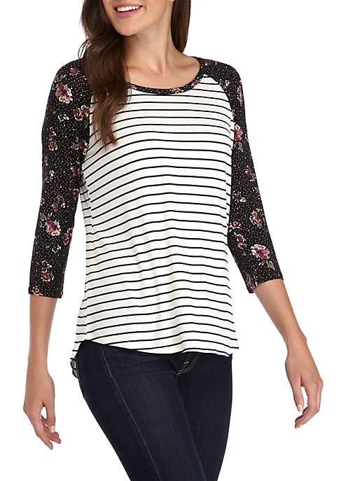 Eyeshadow Long Sleeve Floral Baseball Tee