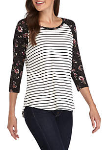 Long Sleeve Floral Baseball Tee