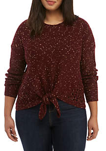 Plus Size Tie-Front Speckled Sweater
