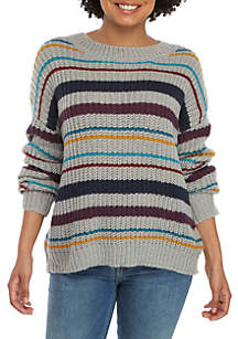 Eyeshadow Striped Crew Neck Sweater