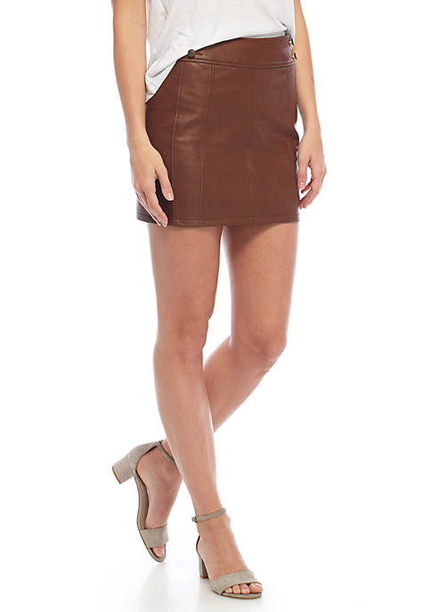 Free People Retro Bodycon Faux Leather Skirt