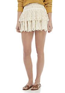 Free People Eyelet Mini Skirt