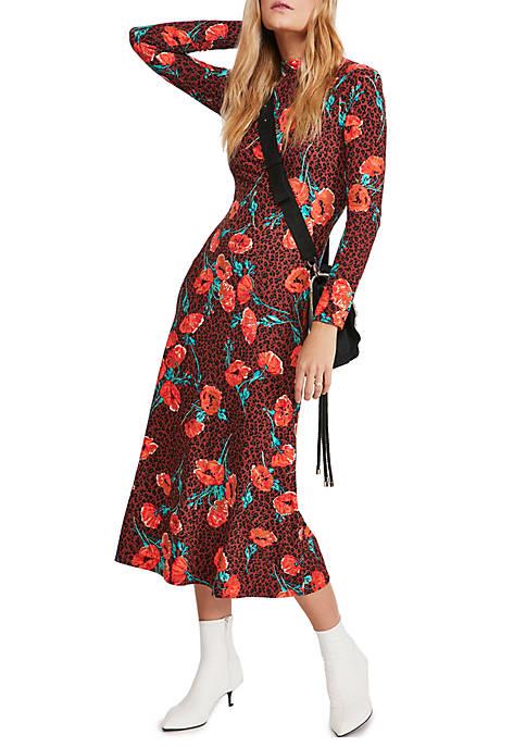 Free People Womens Retro Romance Midi Dress