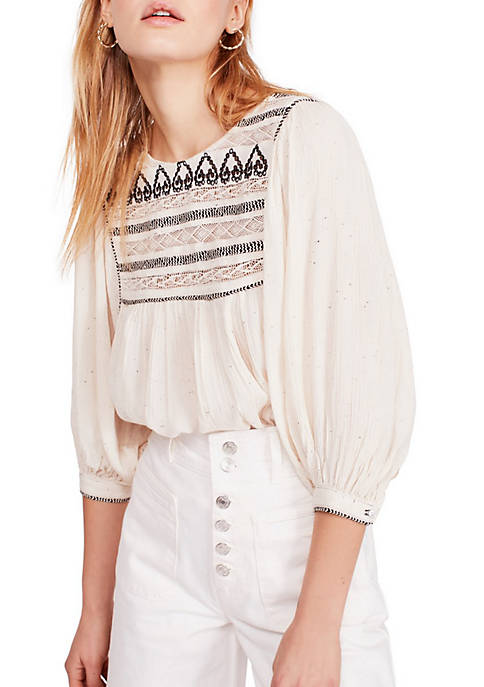 Free People Cyprus Avenue Embroidery Top
