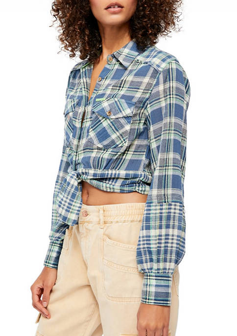 Free People First Plaid Top
