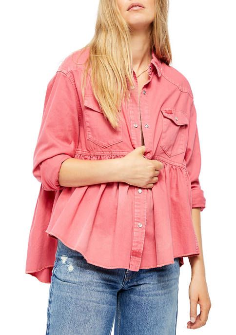 Free People Dylan Babydoll Chambray Top