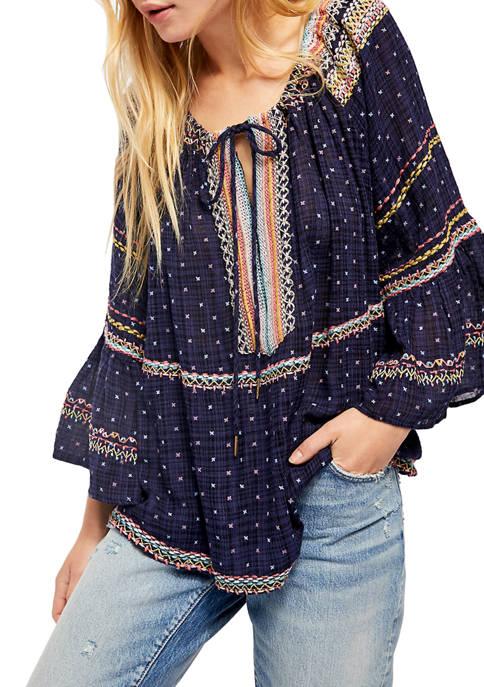 Free People Talia Embroidered Blouse