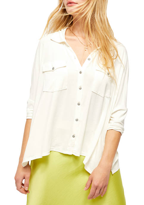 Free People Andy Button Front Shirt
