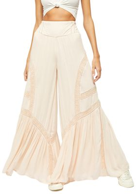 Free People Lovin's Easy Lace Mix Wide Leg Pants