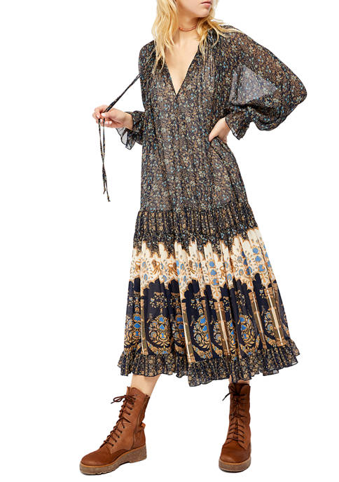 Free People Petite Feeling Groovy Border Print Maxi