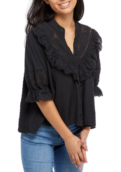 Free People Walk In The Park Ruffle Lace
