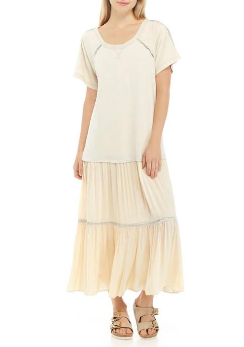 Free People Short Sleeve Sun Faded Midi Dress