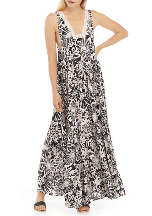 Free People Sleeveless Floral Tiered Maxi Dress