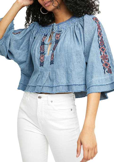 Free People Flare Sleeve Floral Embroidered Top