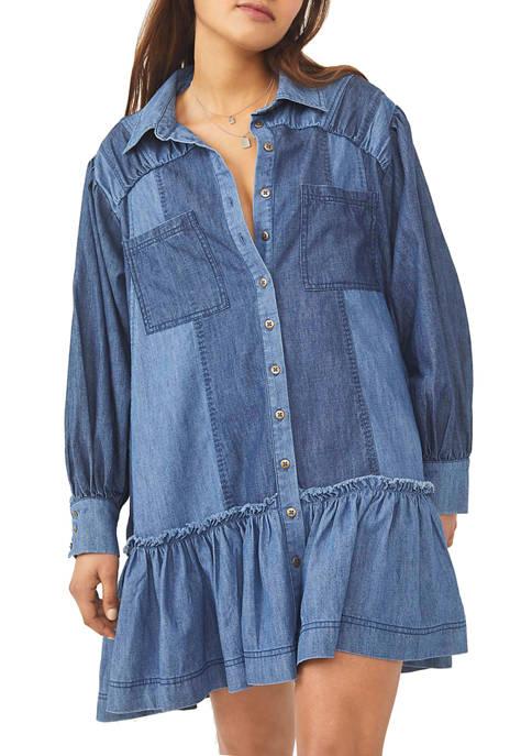 Free People Sunburst Denim Mini Dress