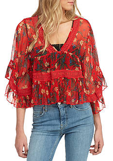 Free People Bright Lights Embroidered Top