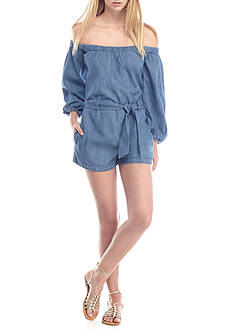 Free People Tangled in Willows Chambray Romper
