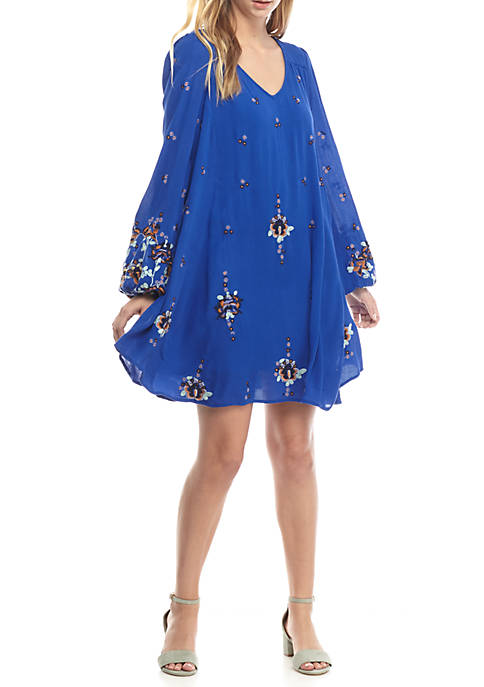 Oxford Embroidered Mini Dress
