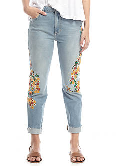 Free People Embroidered Boyfriend Jeans