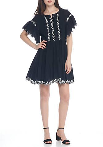 Free People Embroidered Slub-Knit Arizona Mini Dress