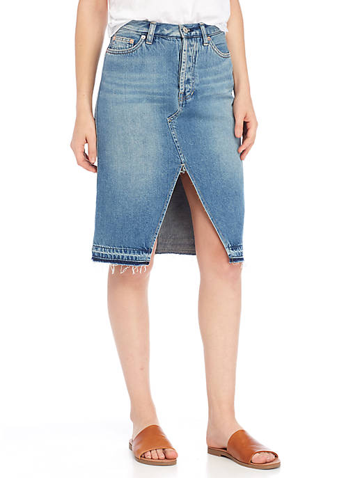 Free People Denim Midi Skirt