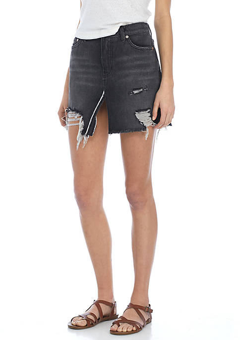 Free People Relaxed and Destroyed Denim Skirt