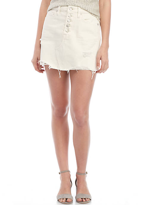 Free People Denim A-Line Button Fly Skirt