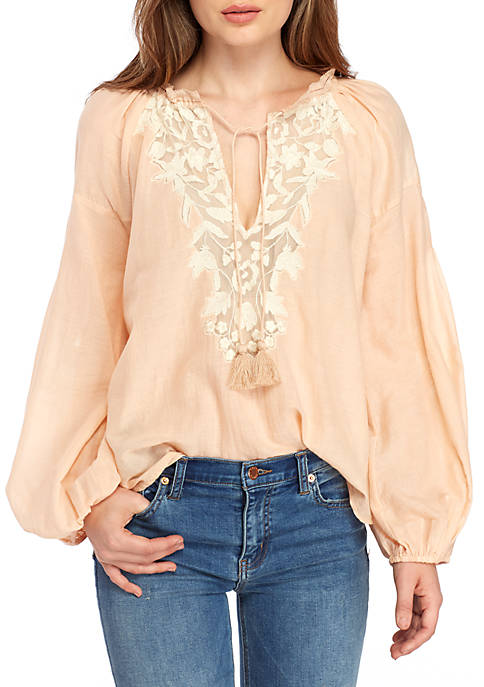 Free People Shimla Embroidered Peasant Blouse