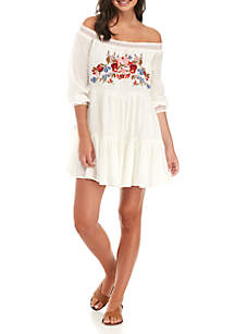 Sunbeams Embroidered Off-The-Shoulder Mini Dress