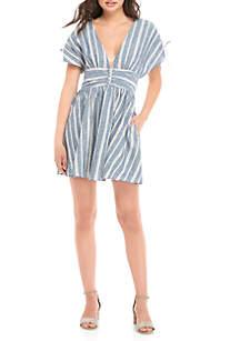 Roll the Dice Tie Sleeve Striped Mini Dress