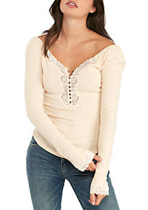 To The West Lace Trim Henley Top