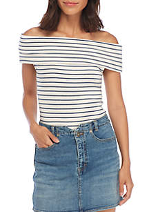 Melbourne Off-the-Shoulder Stripe Tee