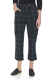 Relax Slim Plaid Cargo Pants