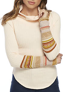 Mixed Media Cuff Sleeve Turtleneck Sweater
