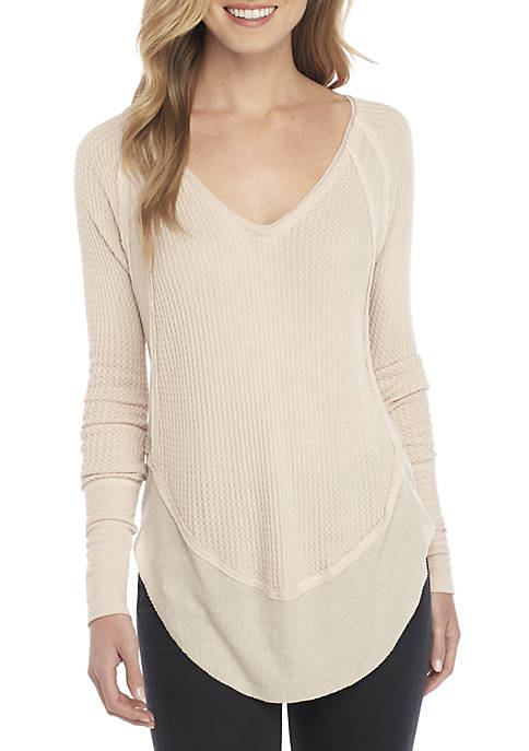 Free People Catalina V-Neck Thermal Sweatshirt