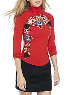 Disco Rose Embroidered Turtlerneck Shirt