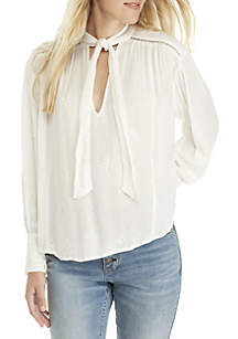 Wishful Moments Tie Neck Blouse