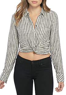 Lust 4 Life Stripe Knot Crop Top