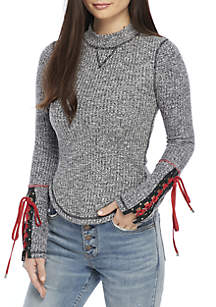 Mountaineer Lace-Up Sleeve Sweater