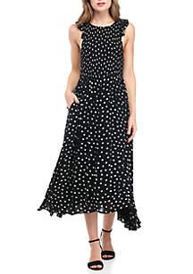 Chambray Butterfly Dot Midi Dress