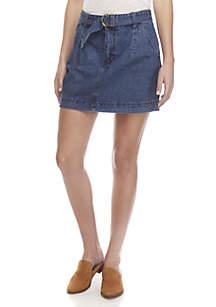 Belted Jade Denim Skirt