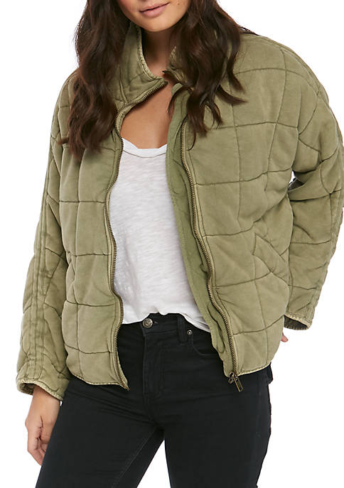 Free People Womens Dolman Quilted Knit Jacket