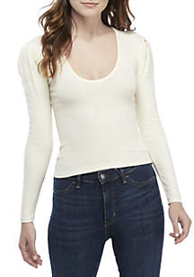Hey Lady Puff Sleeve Knit Top