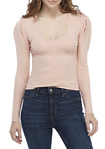 Free People Hey Lady Puff Sleeve Knit Top