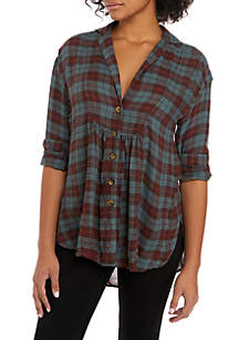 All About The Feels Plaid Top