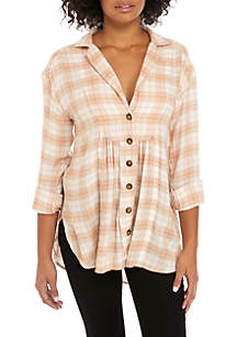 Free People All About The Feels Plaid Top
