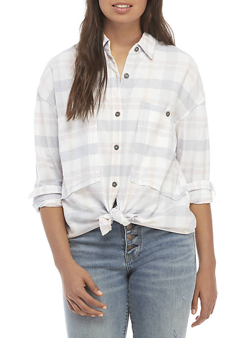 Free People Loveland Plaid Button Down Top